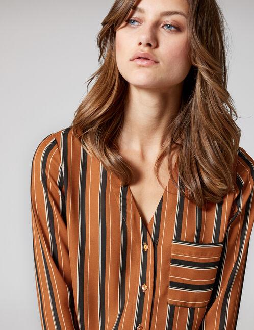 Camel, black and cream striped V-neck shirt