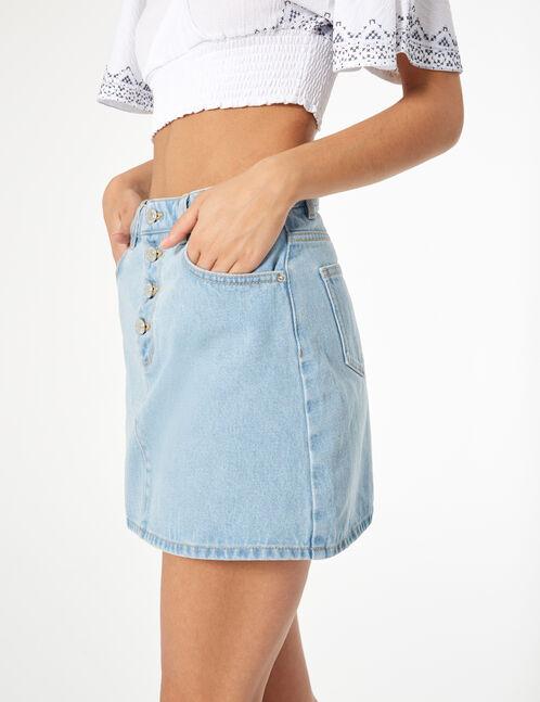 button-up denim skirt