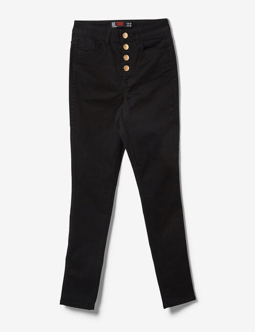 Black high-waisted skinny trousers