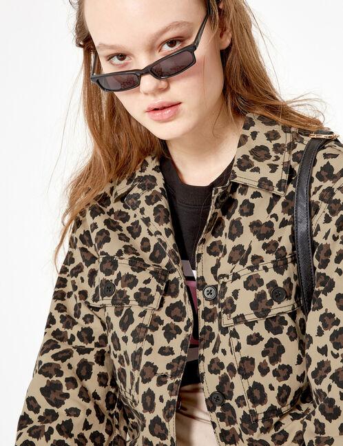 veste courte léopard beige et marron