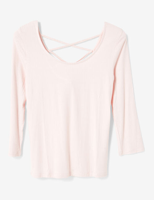 Light pink top with strappy back detail
