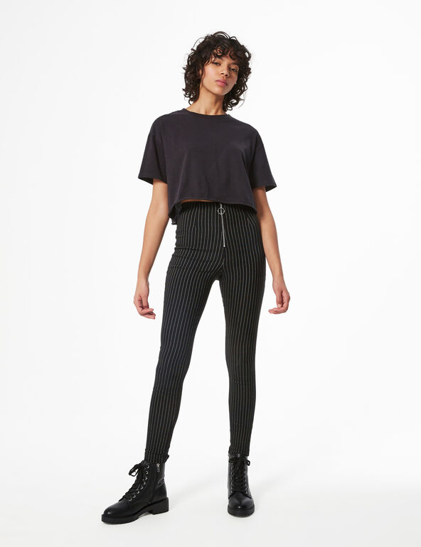 Striped trousers with buckle detail