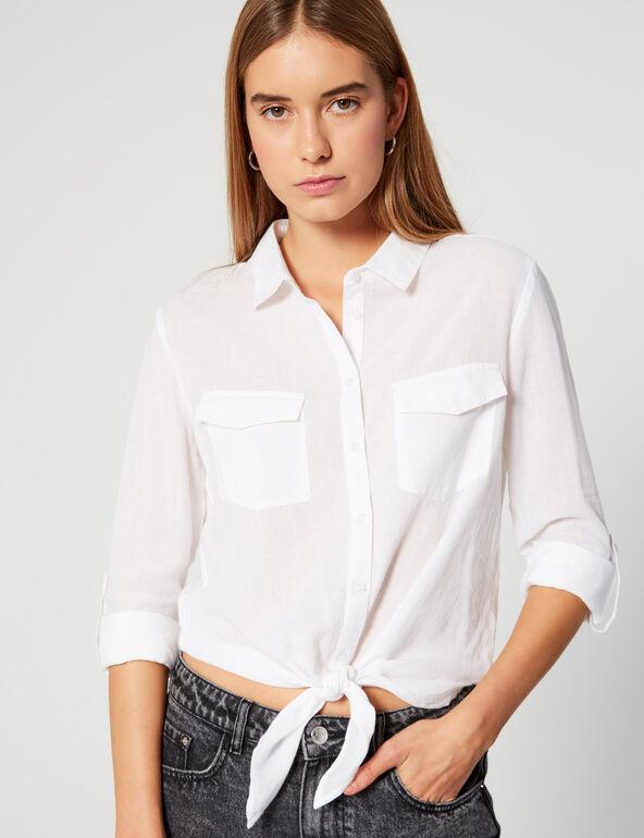Tie-fastening shirt