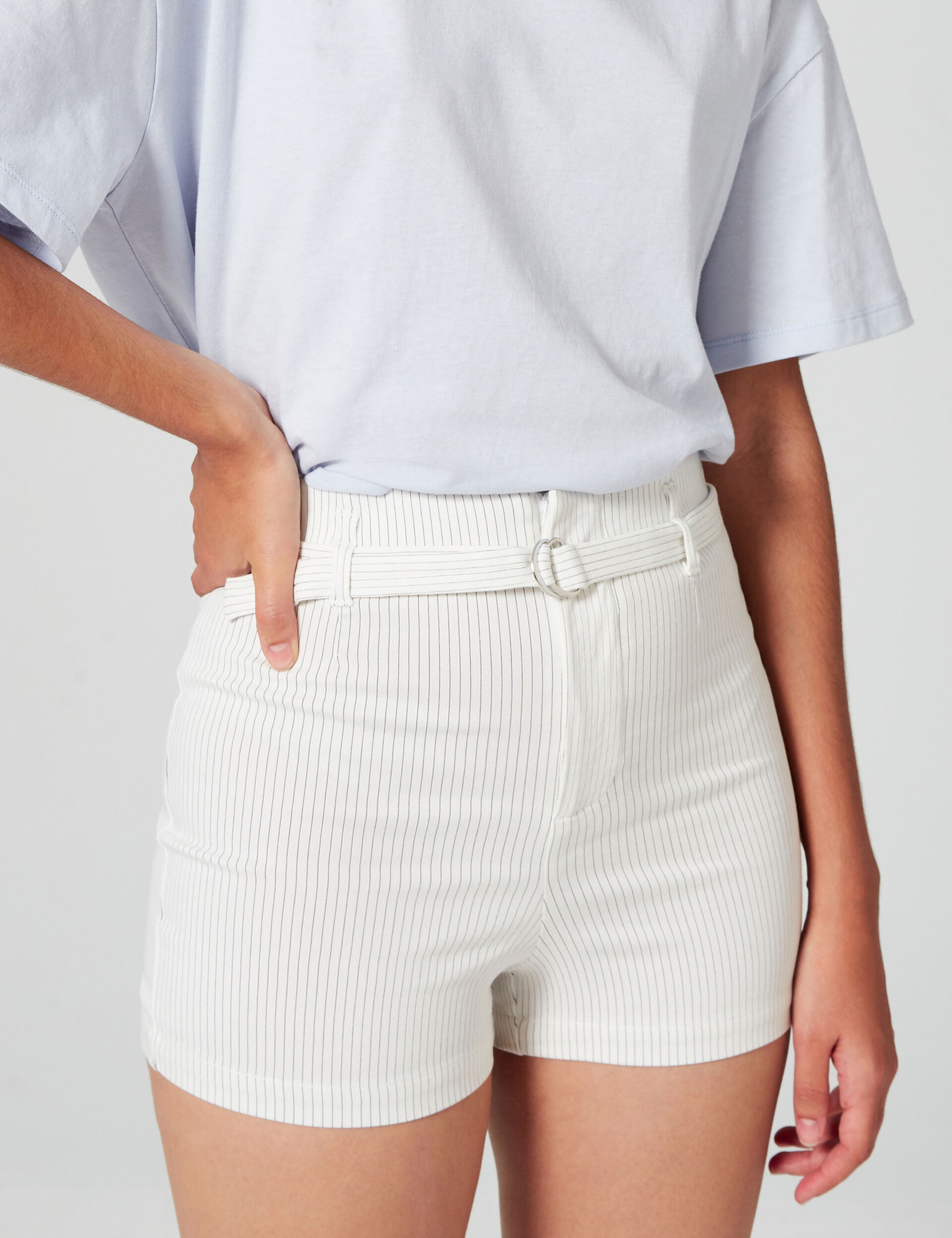 Striped shorts with belt