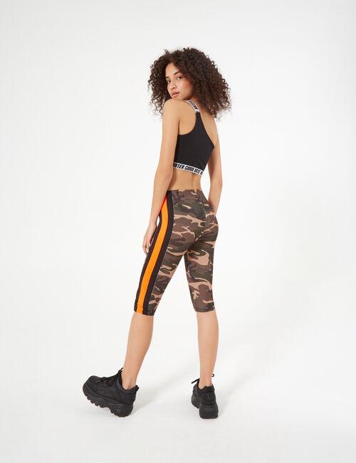 Khaki and neon orange camouflage cycling shorts