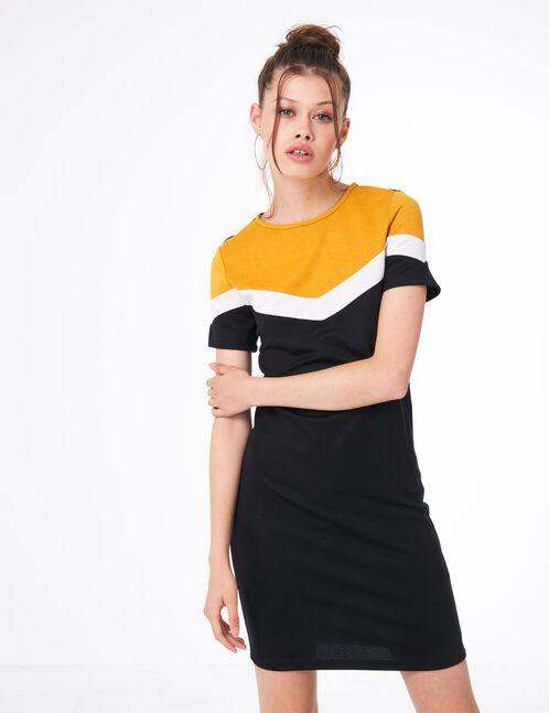 robe tricolore noire, blanche et ocre