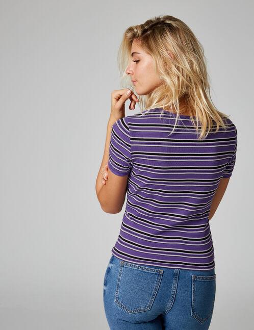 tee-shirt rayé violet, rose, noir et blanc