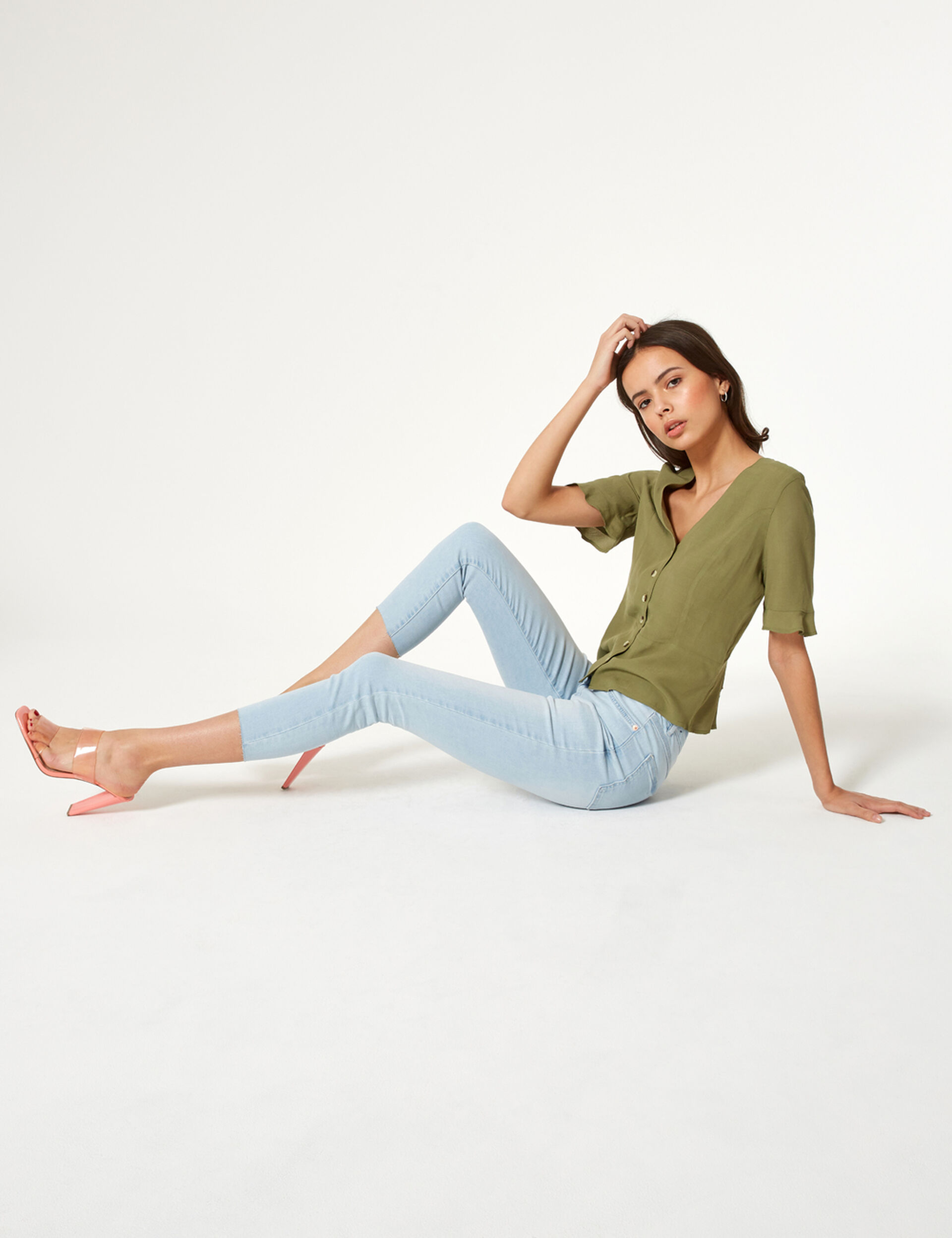 Jean skinny taille haute bleu clair