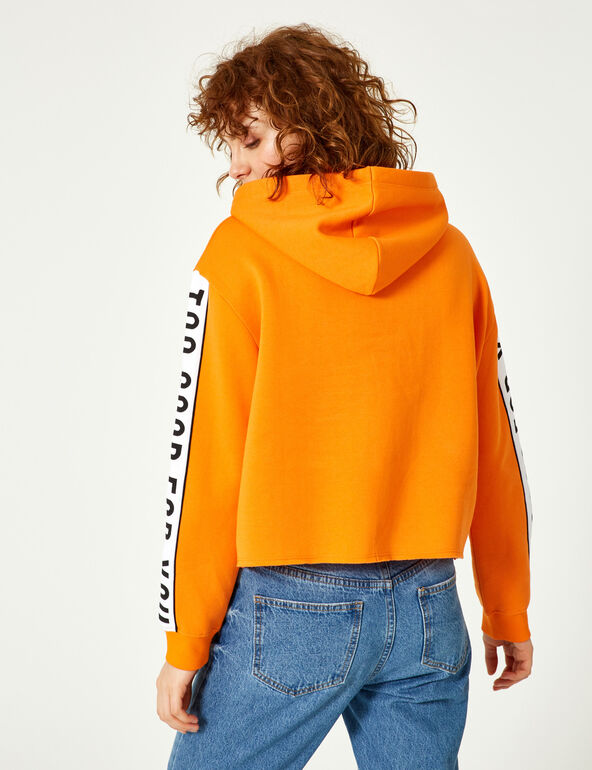"Orange ""back off"" hoodie"
