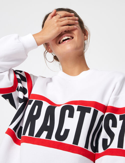 "Long white ""distraction"" sweatshirt"
