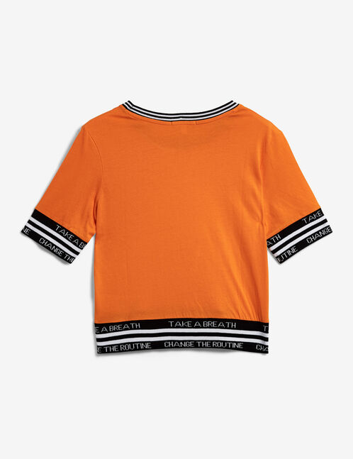 Orange T-shirt with text design detail