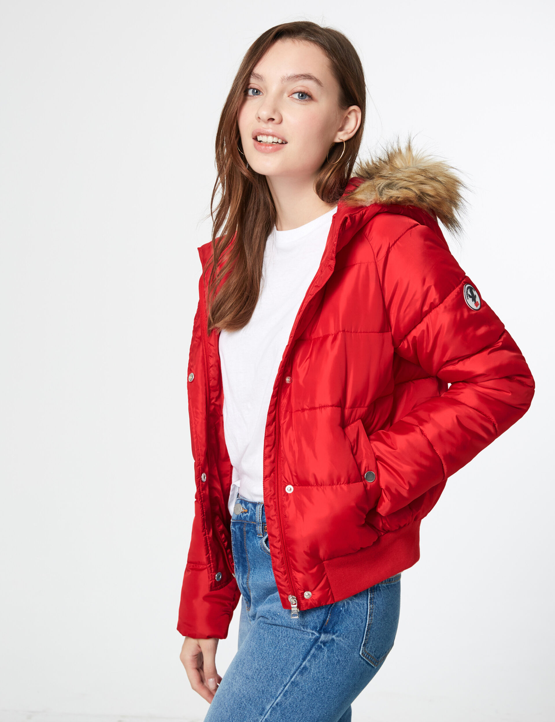 Red hooded padded jacket