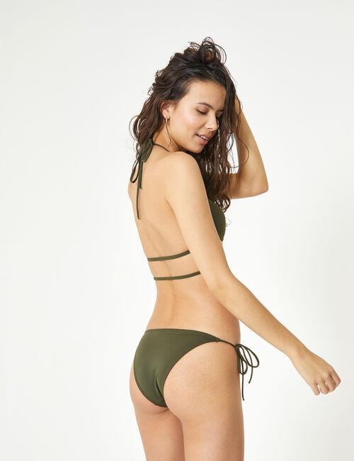 Khaki bikini set with strap detail
