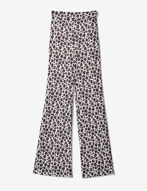 Beige and brown leopard print trousers