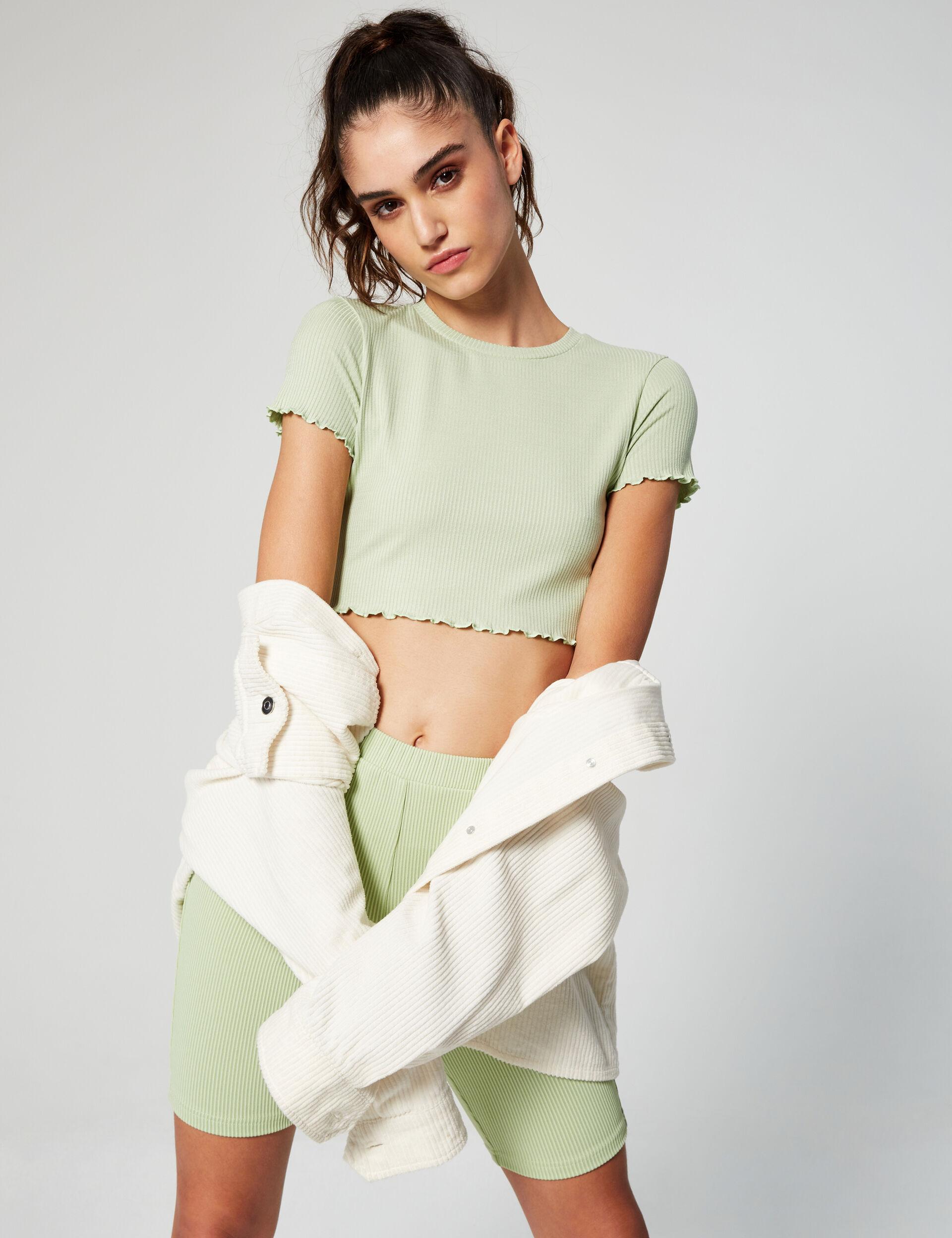Tee-shirt court côtelé