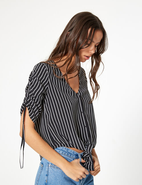 Black and cream striped blouse with gathered sleeve detail