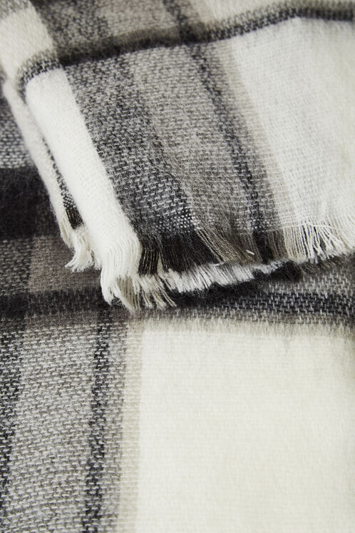 Cream, black and grey tartan scarf