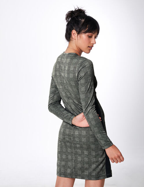 Grey dress with side stripe detail
