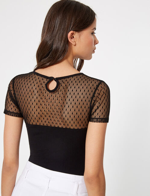 Black bodysuit with mesh detail