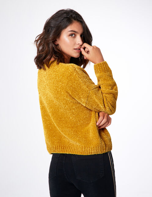 Ochre chenille jumper with text design detail