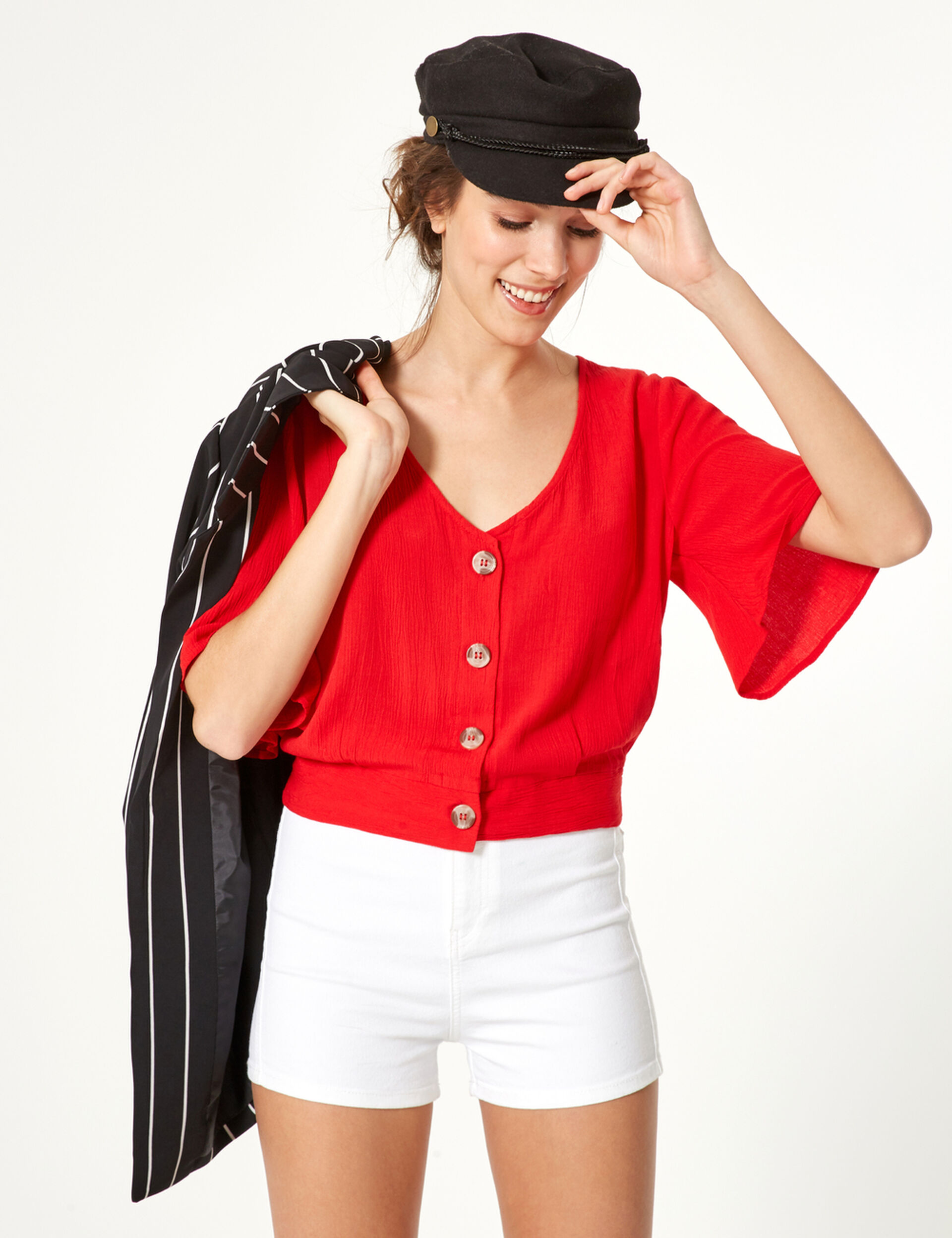 Red buttoned blouse