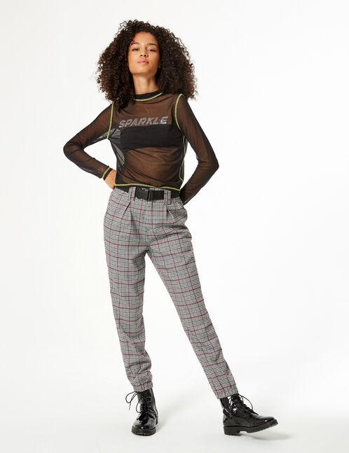 Pantalon cargo pied-de-poule