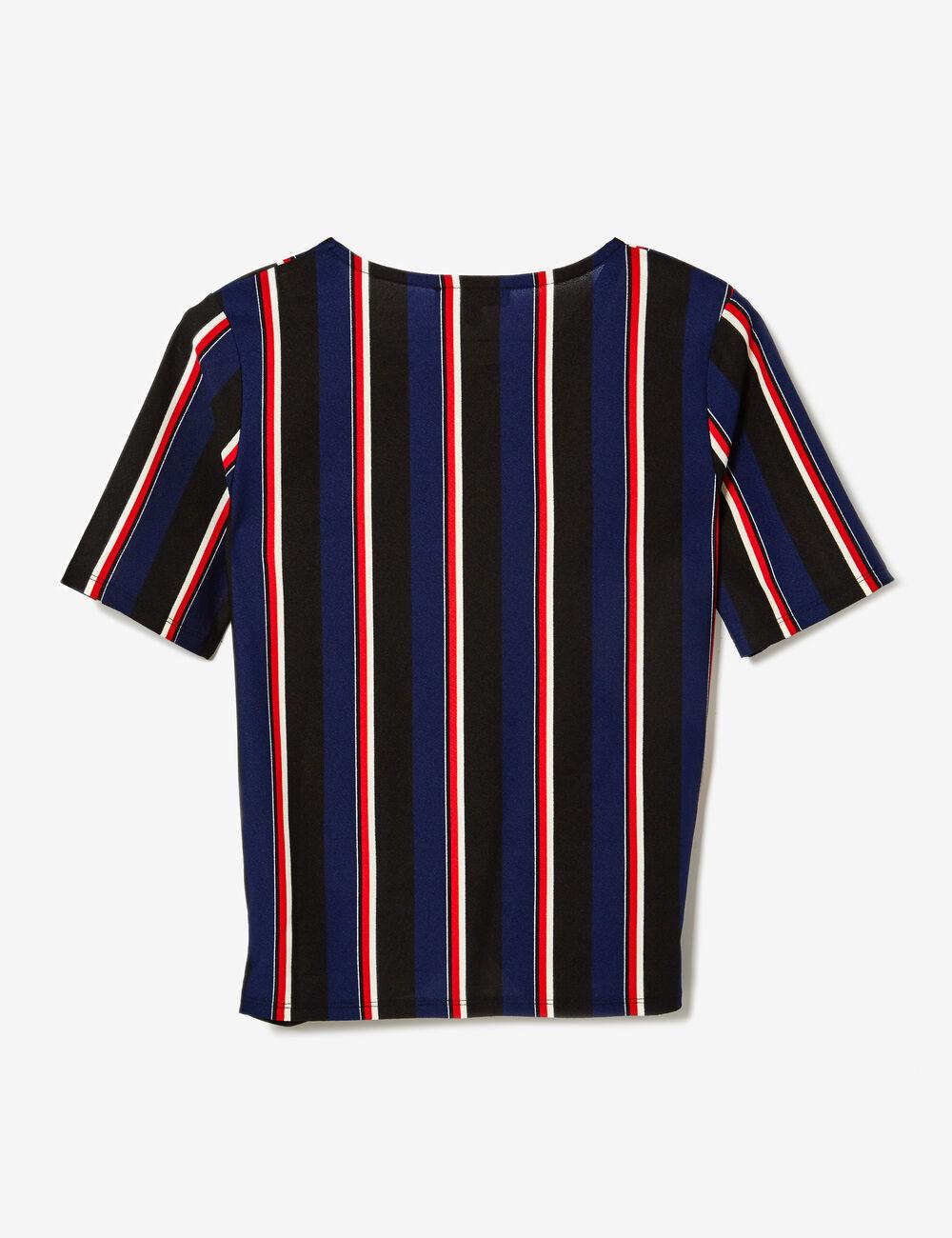 tee shirt ray effet noeud noir bleu marine rouge et. Black Bedroom Furniture Sets. Home Design Ideas