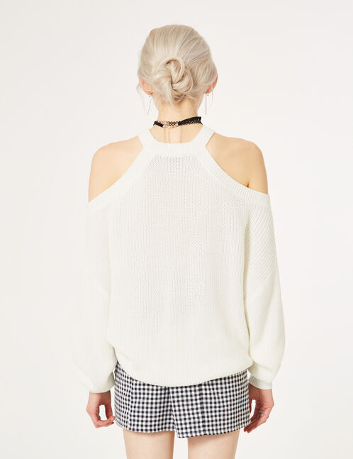 Cream jumper with cut-out neckline detail
