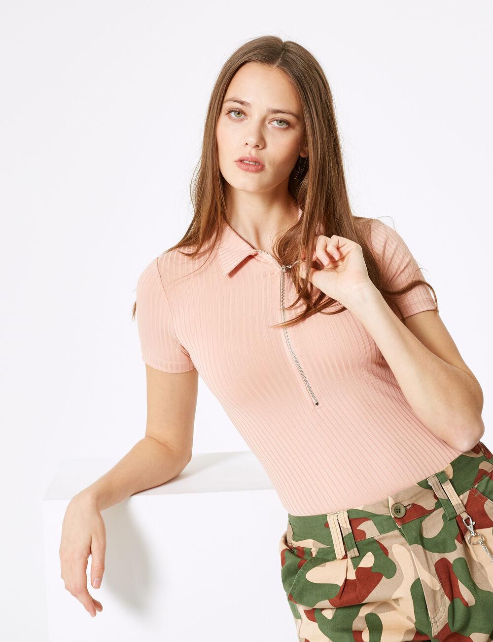 Light pink polo-style zipped bodysuit woman • Jennyfer 5e39a466a37b