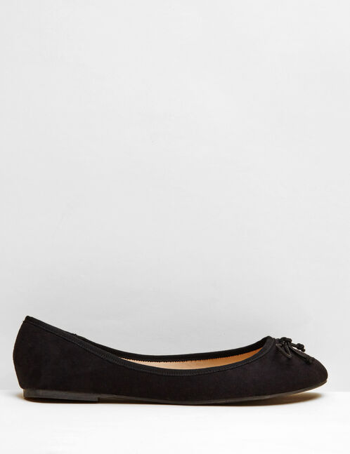 Black imitation suede ballet pumps