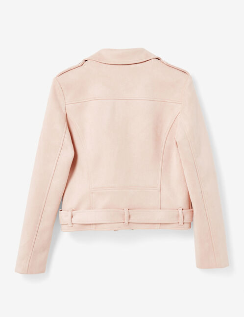 Light pink biker jacket with belt