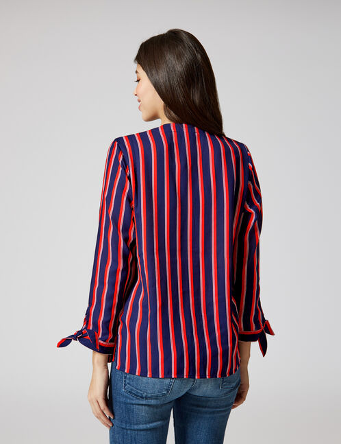 Blue, red and white striped V-neck shirt
