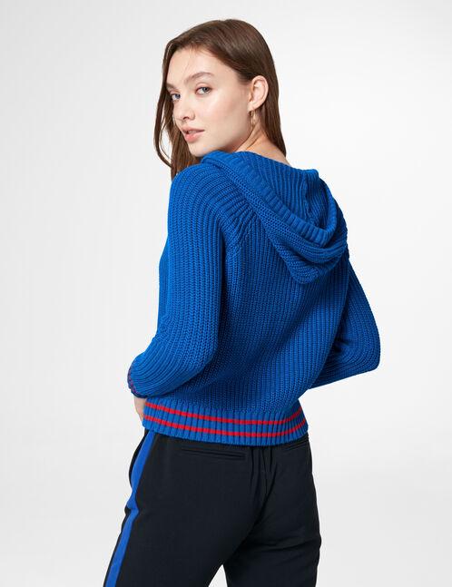 Blue hoodie with lacing detail
