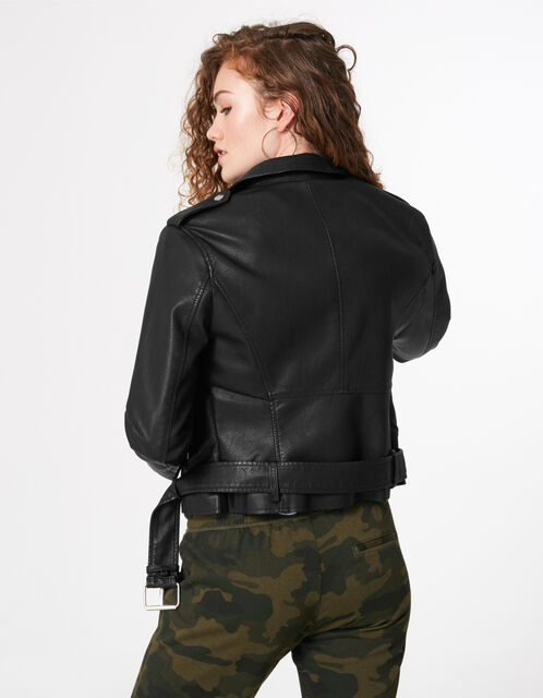 Black biker jacket with belt