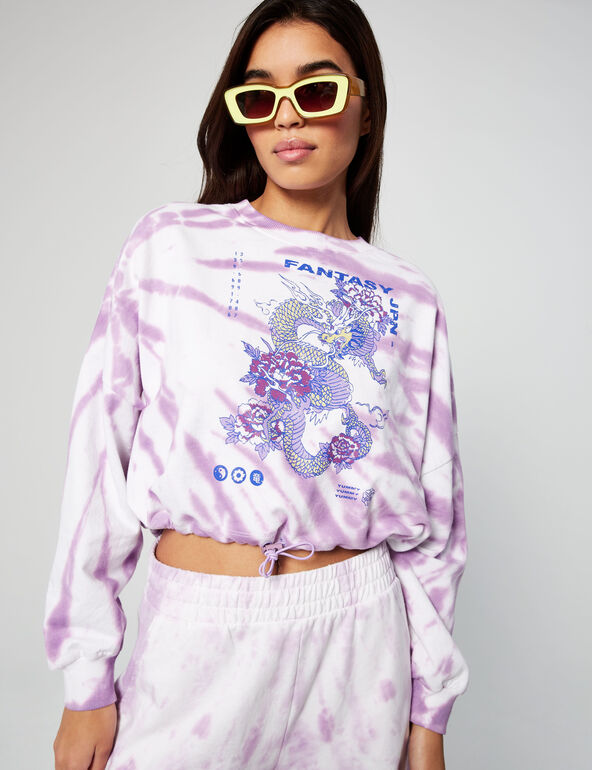 Cropped patterned sweatshirt