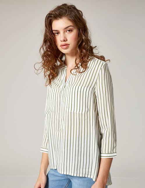 White and green striped V-neck shirt