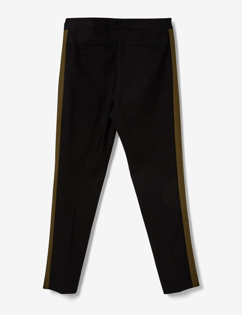 Black and khaki cigarette trousers with stripe detail