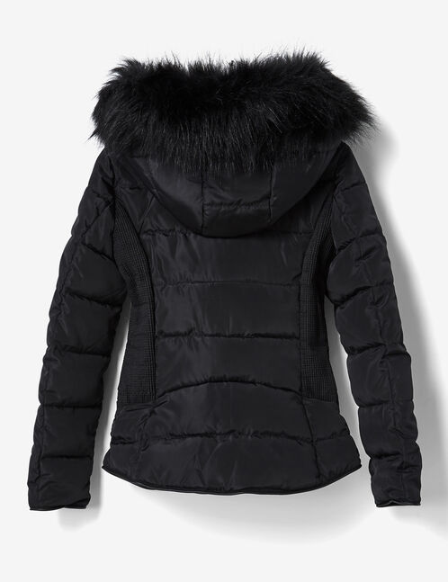 Black hooded padded jacket