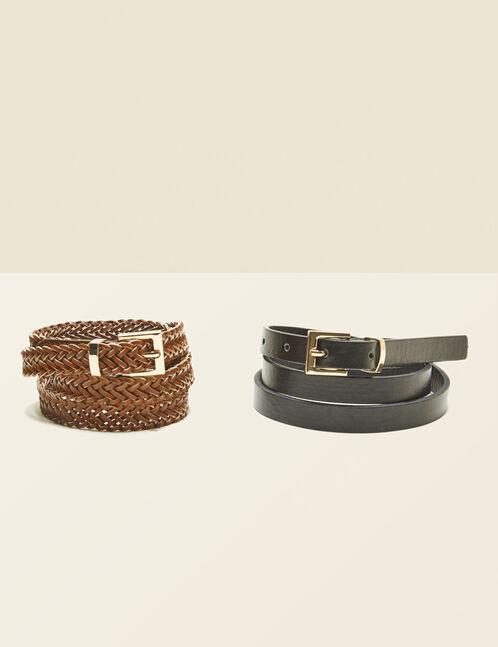 Camel and black skinny belts