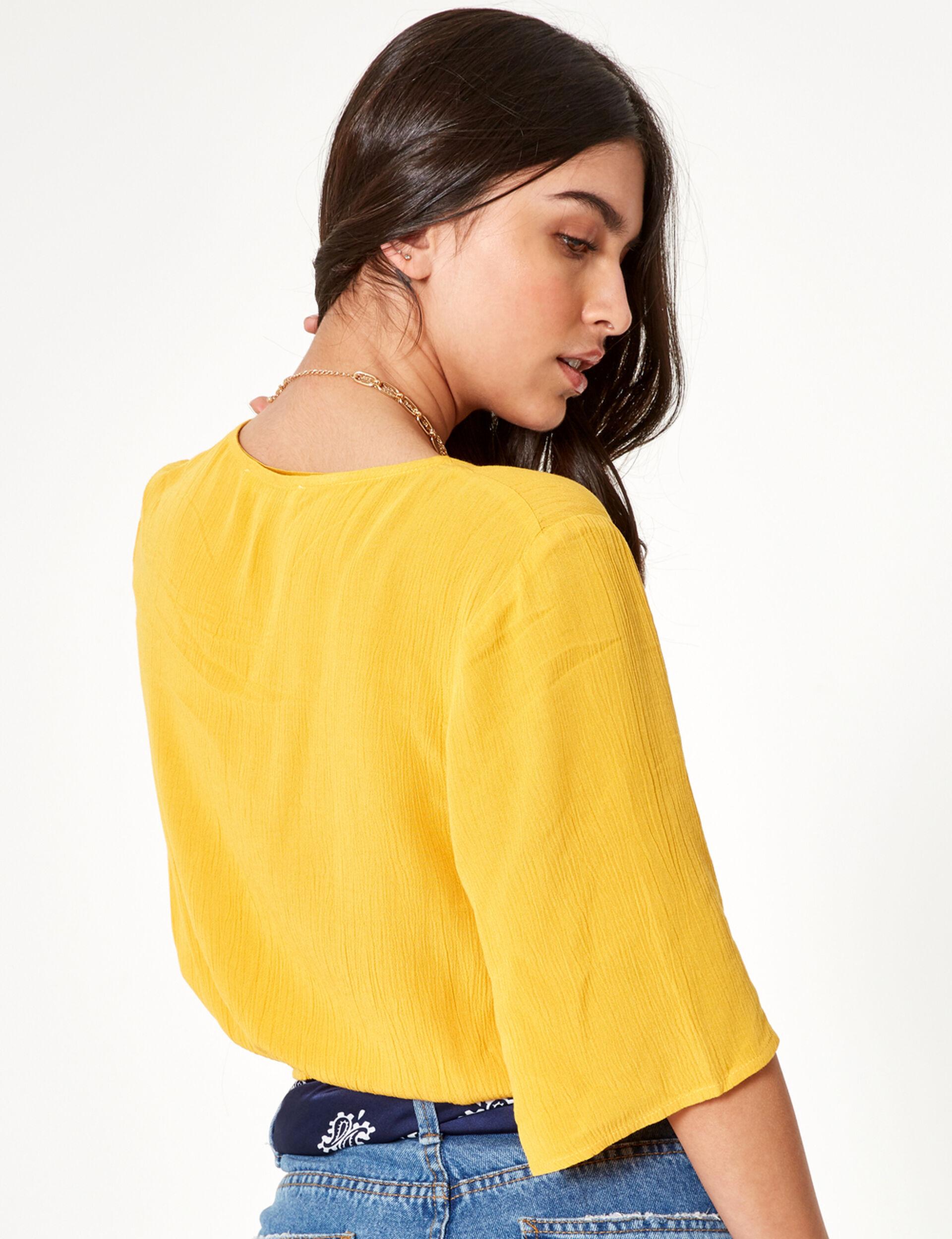 Ochre buttoned blouse