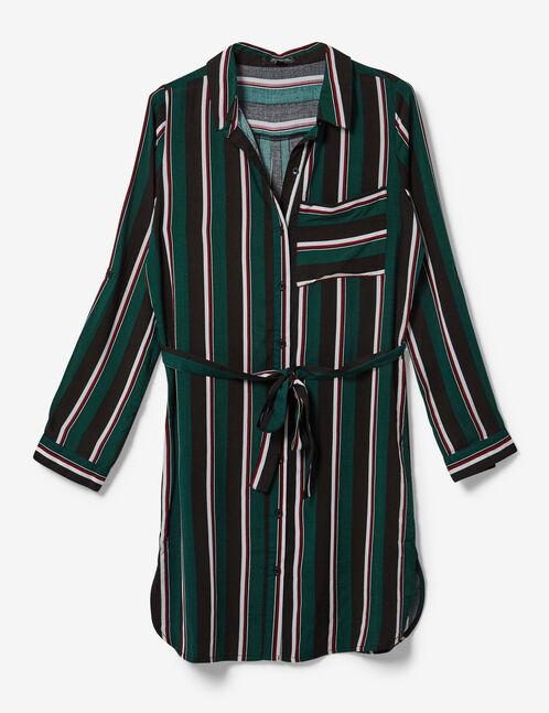 robe chemise rayée noire, verte, bordeaux et écrue
