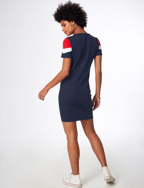 robe tricolore bleu marine, blanc et rouge