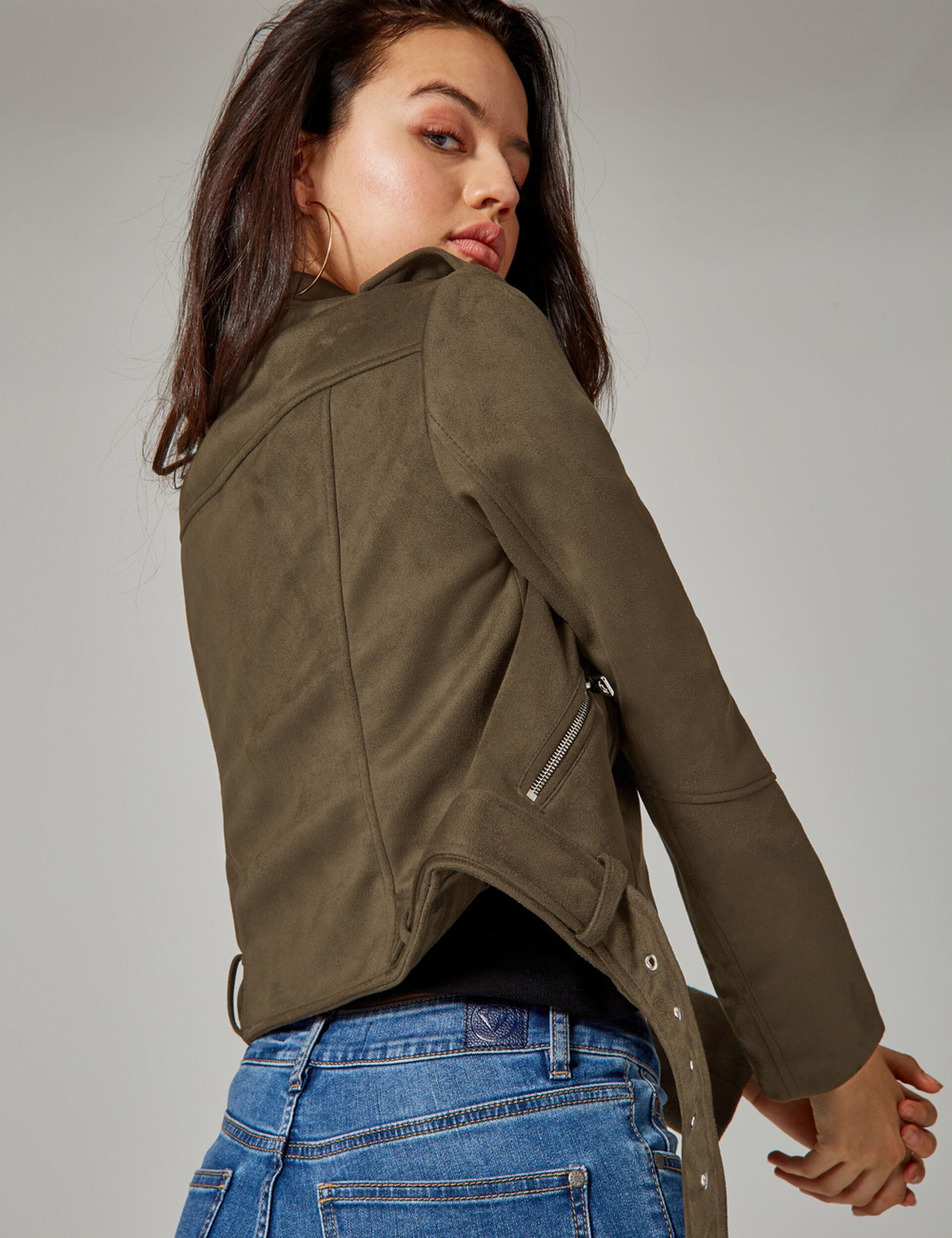 Khaki faux suede biker jacket