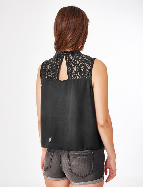 Black mixed fabric blouse