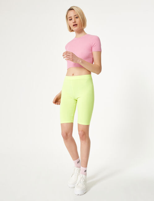 Neon yellow cycling shorts