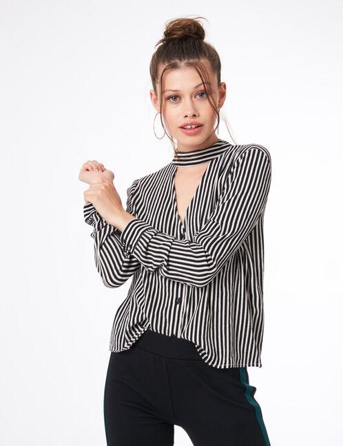 Cream and black striped V-neck blouse