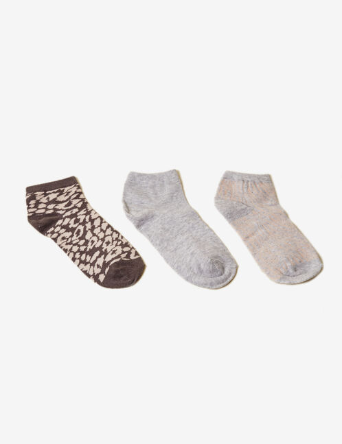 Grey and pink patterned socks