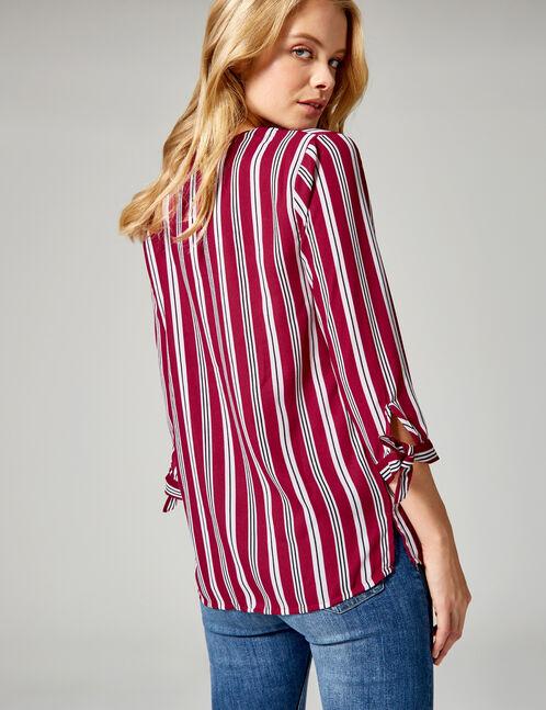 chemise rayée col v bordeaux, blanches et noires