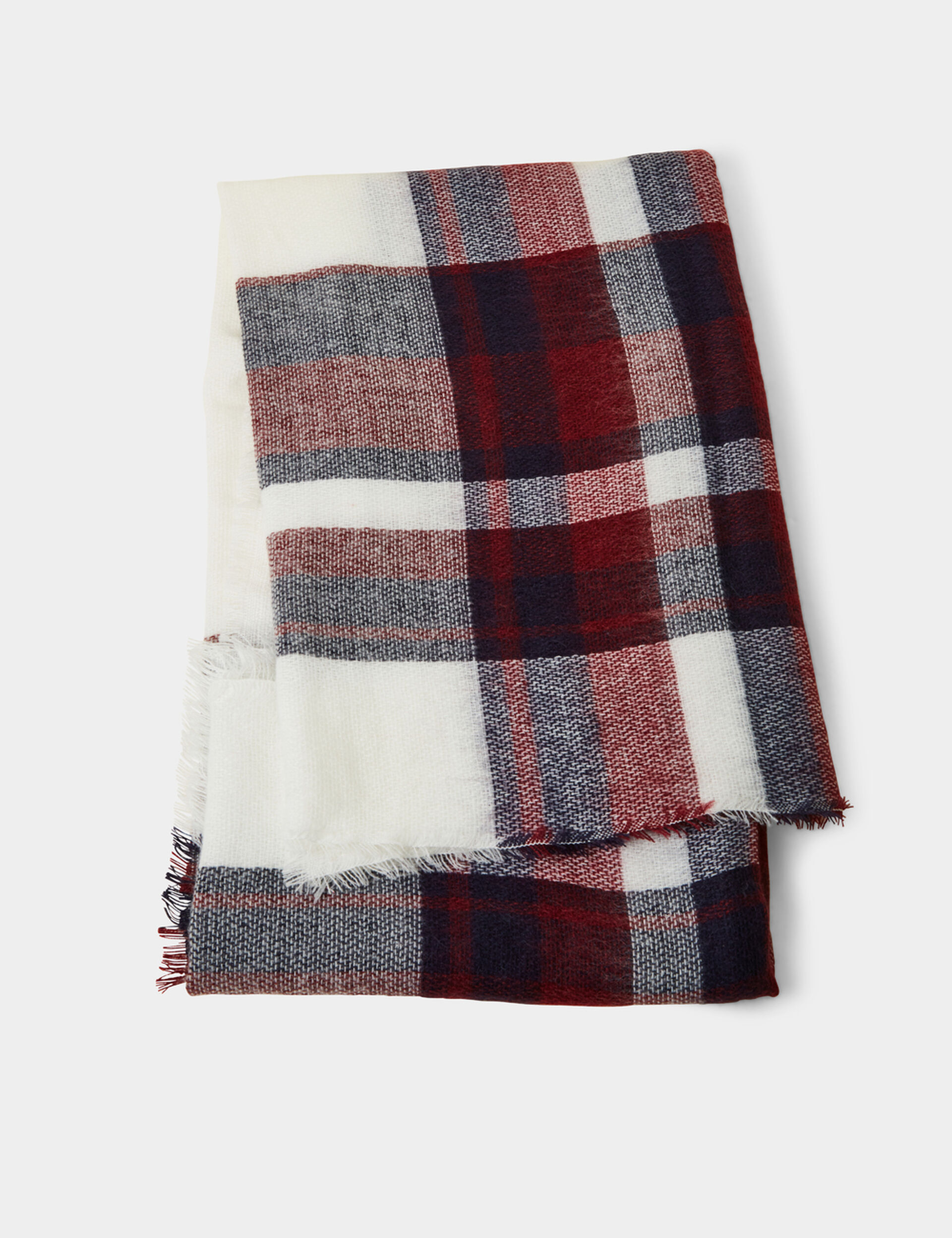Cream, navy blue and burgundy tartan scarf