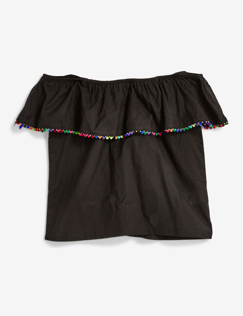 Black blouse with pompom detail